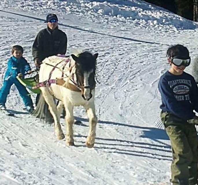 Quentin avec le poney Sioux. Une initiation agréable et gratuite au ski-joëring offerte par la station.